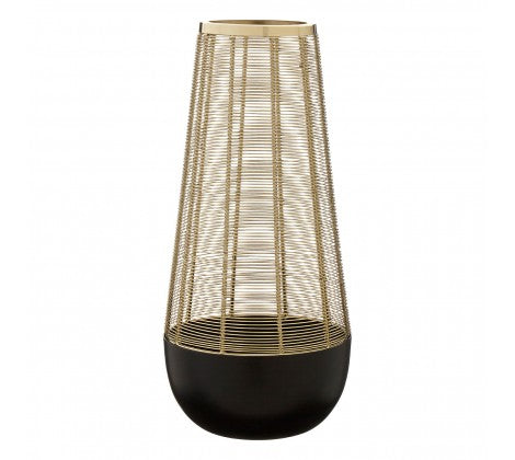 Large black and gold lamp, strong black base with a golden mesh above.