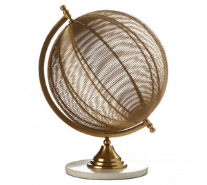 Medium spinning globe made of golden wire, held by a marble base on a white background.