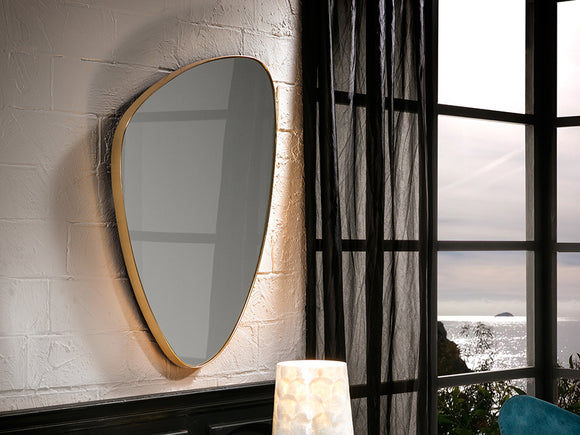 Large triangular mirror with curved edges bordered by a thin gold leaf, very sleek in design.