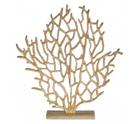 Small golden tree sculpture, branches interconnecting outward above the small golden base.