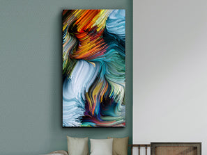 Large portrait artwork of a variety of colours all merging with one another through paint strokes.