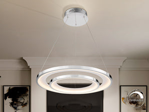 Large ceiling lamp of a modern style, consisting of two rings, one smaller inner ring and one larger outer ring.