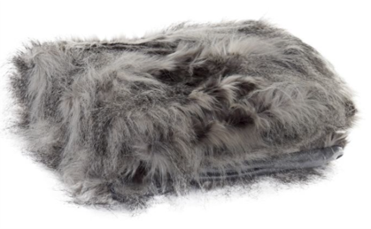 Luxury faux fur Throw - White/Charcoal