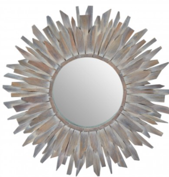Sunburst  Wooden Wall Mirror