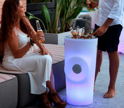 Illuminated Wine cooler with blue tooth speaker