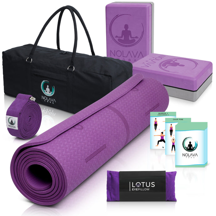 NOLAVA 7 PIECE YOGA MAT SET|Yoga Mat Bag for yoga accessories|TPE ECO Friendly Yoga Mat | Yoga Blocks 2 pack | Yoga Strap |Weighted Lavender Eye Pillow|Bonus Yoga Cards| Yoga gift for Women, Valentines