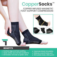 CopperSocks™ Copper Infused Nano Magnetic Foot Support Compression Socks