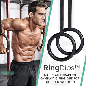 RingDips™ Adjustable Training Gymnastic Ring Dips for Full Body Workout