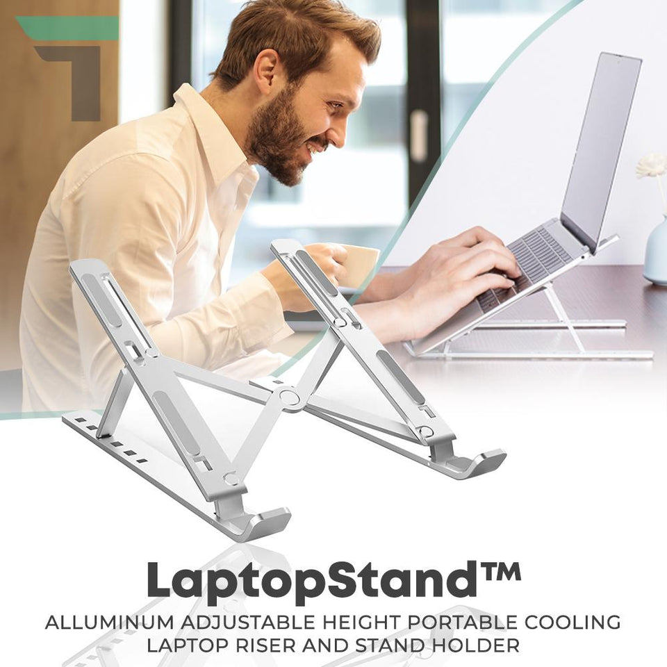 LaptopStand™ Alluminum Adjustable Height Portable Cooling Laptop Riser and Stand Holder