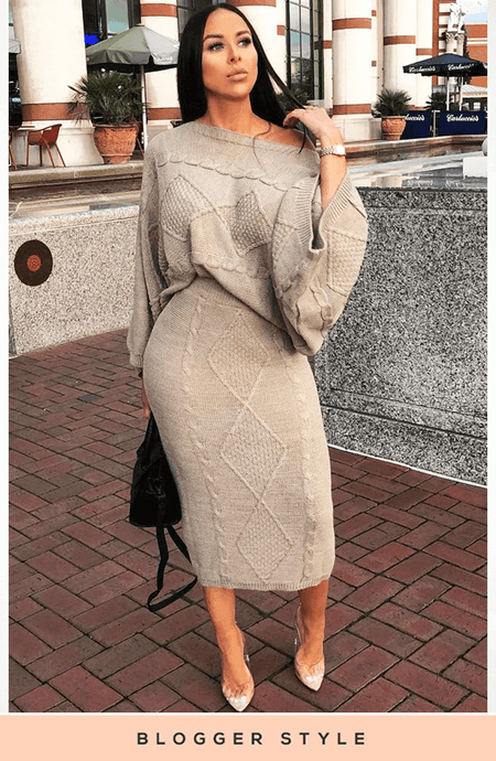 78665f6e111 BEIGE ITALIAN CABLE PATTERNED KNITTED TWO PIECE SET