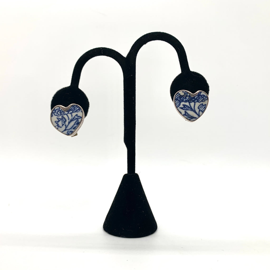 Vintage Chinoiserie Heart Clip-on Earrings