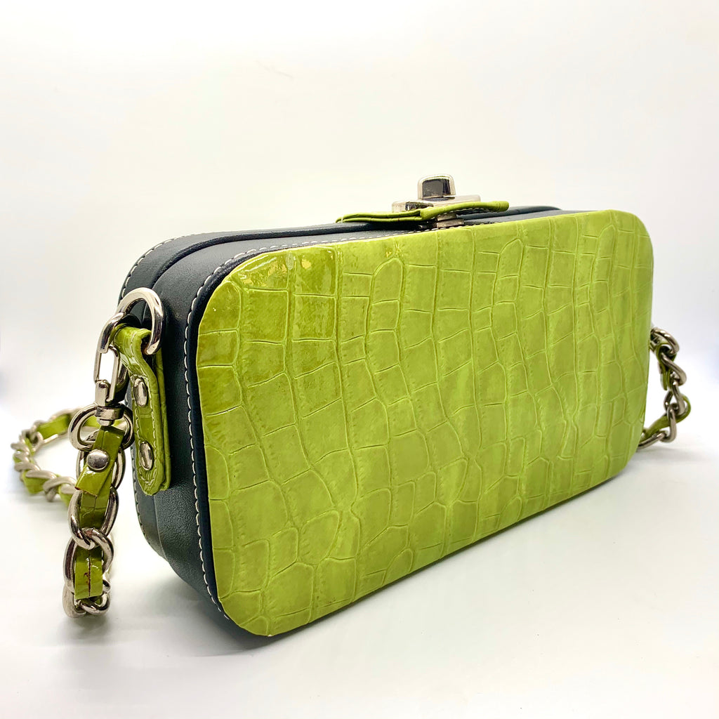 Lime Green Faux Croc Purse