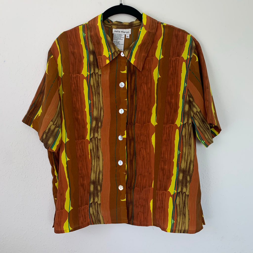 Bright Vintage Abstract Print Short Sleeve Button Up