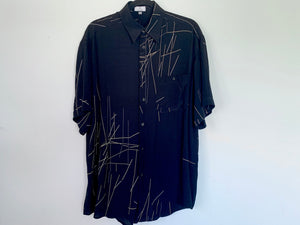 Black Abstract Print Short Sleeve Button Up