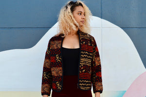 Vintage Tapestry Zip Up Jacket