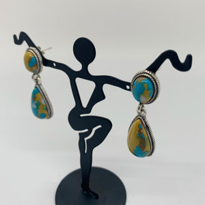 Mustard & Turquoise Teardrop Earrings
