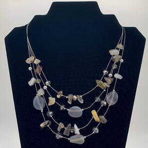 Natural Stone Layered Necklace and Earring Set