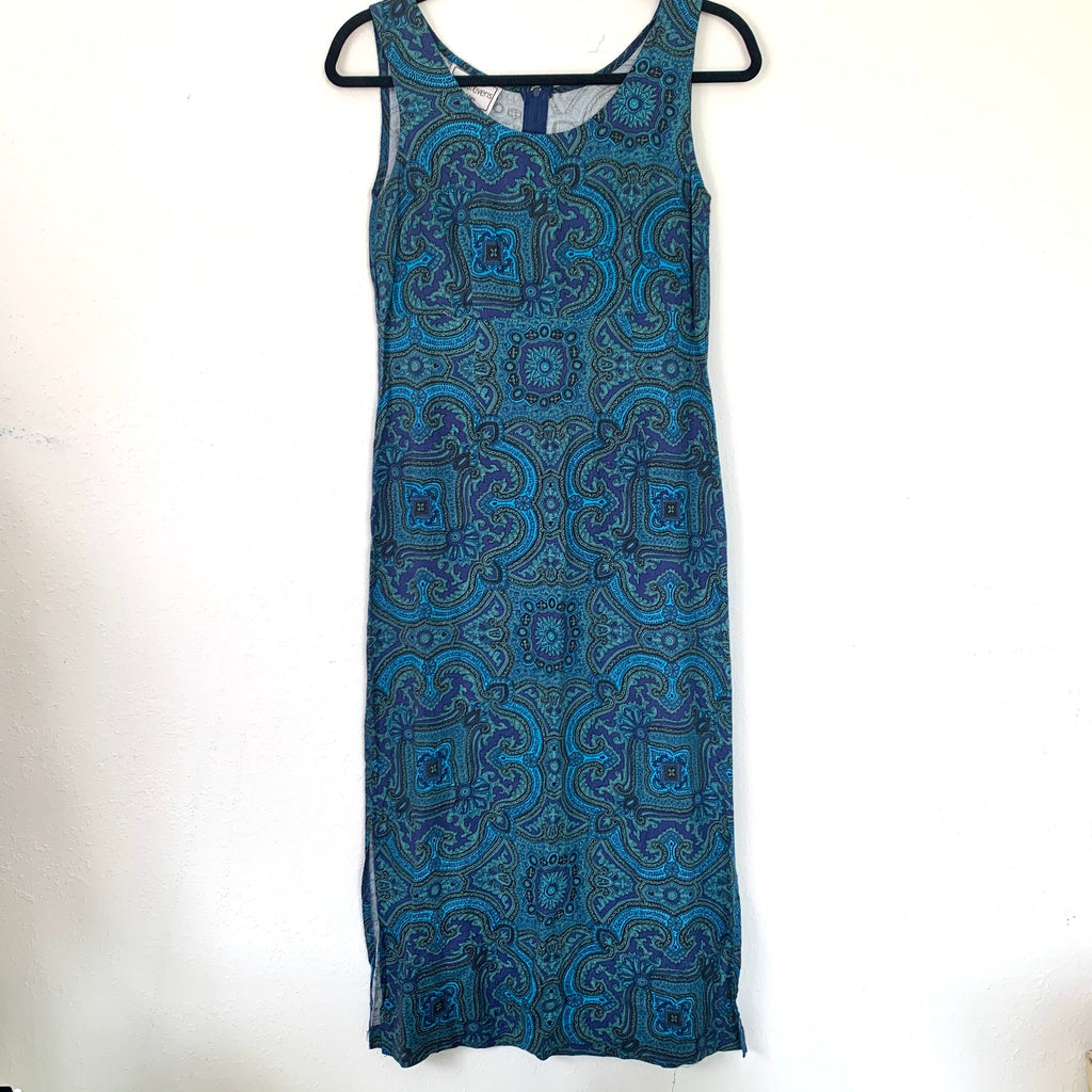 Blue Paisley Print Summer Dress
