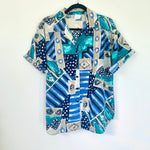 Vintage Artistic Print Short Sleeve Button Up