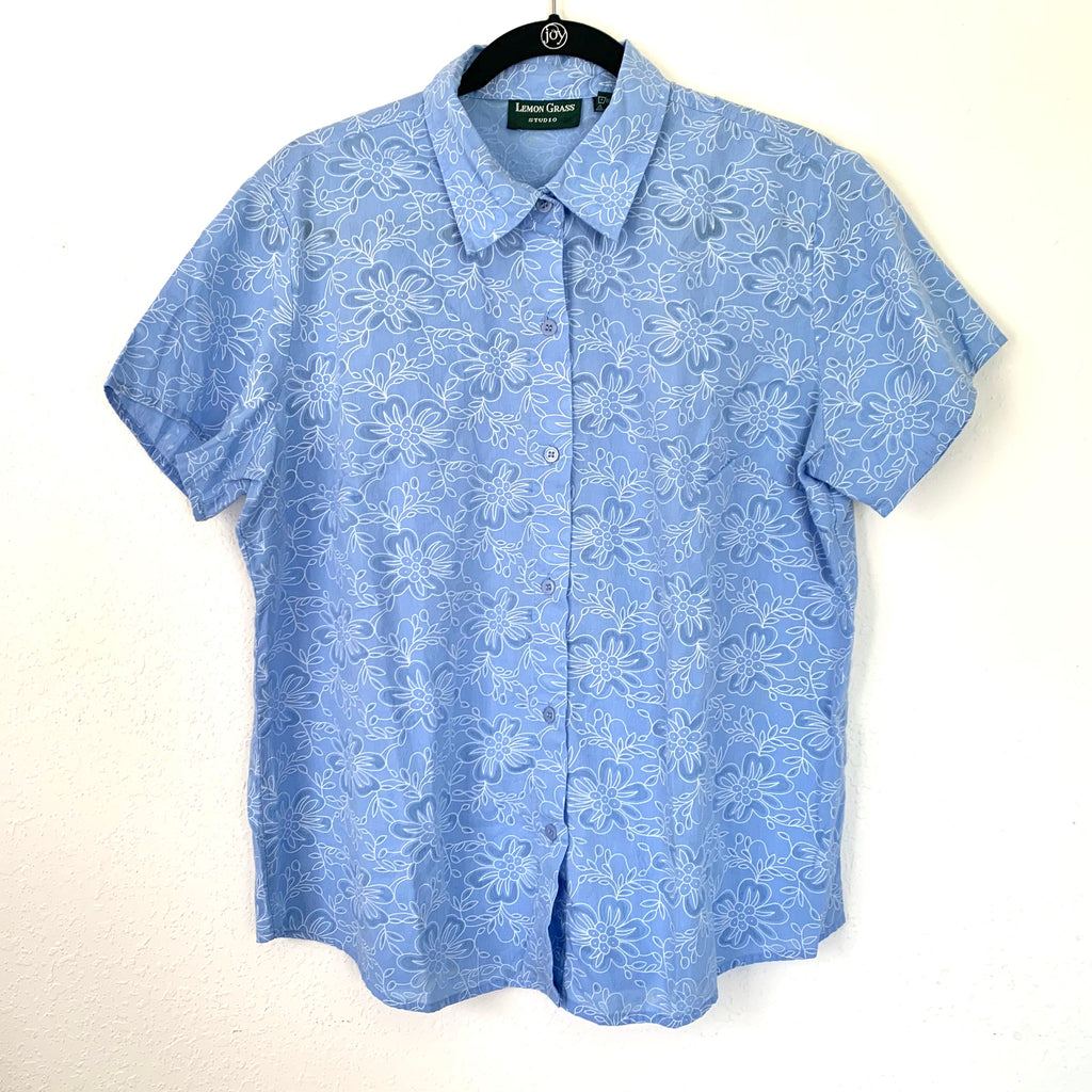 Baby Blue Floral Short Sleeve Button Up