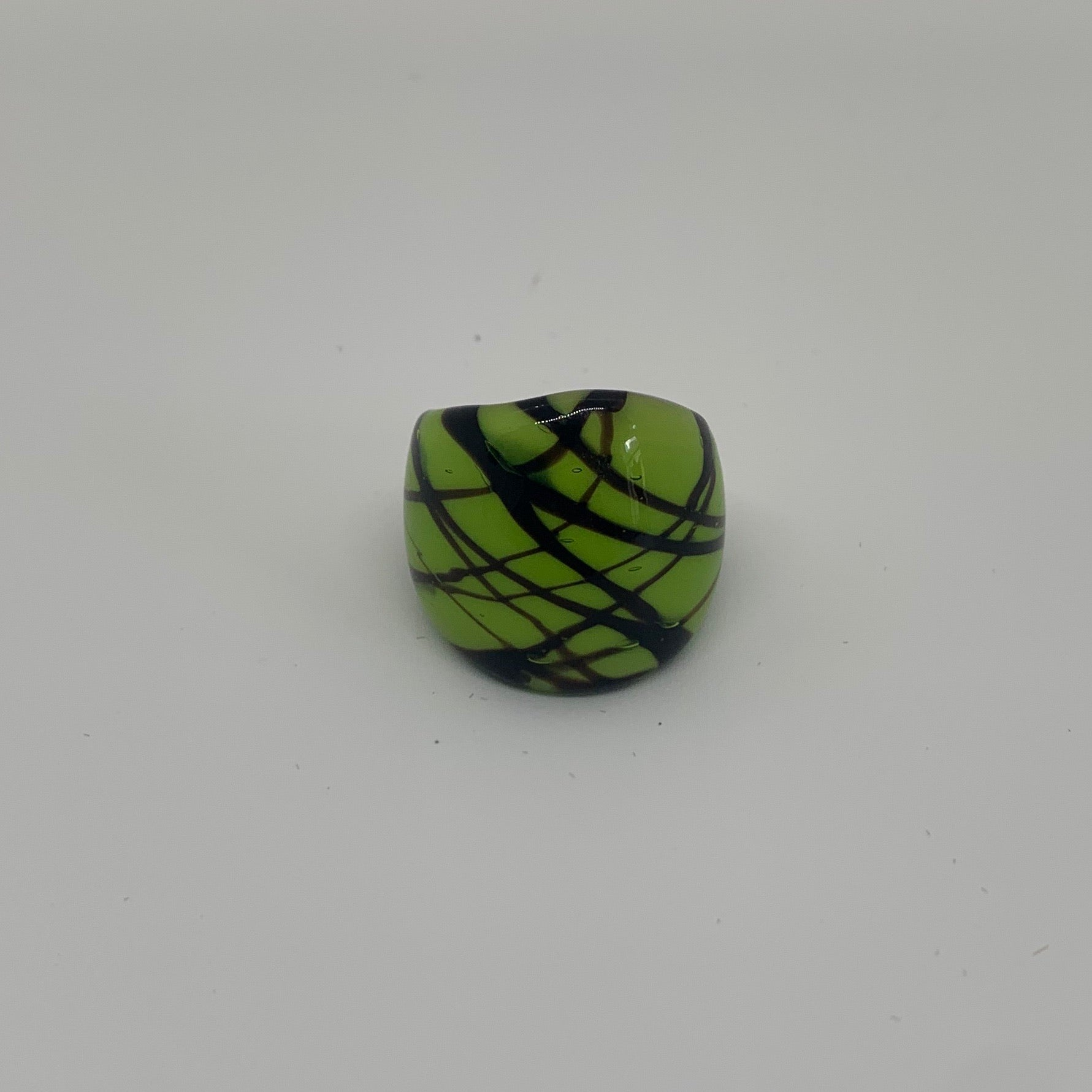 Green & Black Abstract Glass Ring