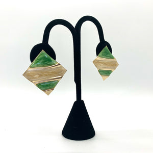 Green & Gold Geometric Vintage Clip-on Earrings