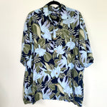 Vintage Tropical Print Short Sleeve Button Up