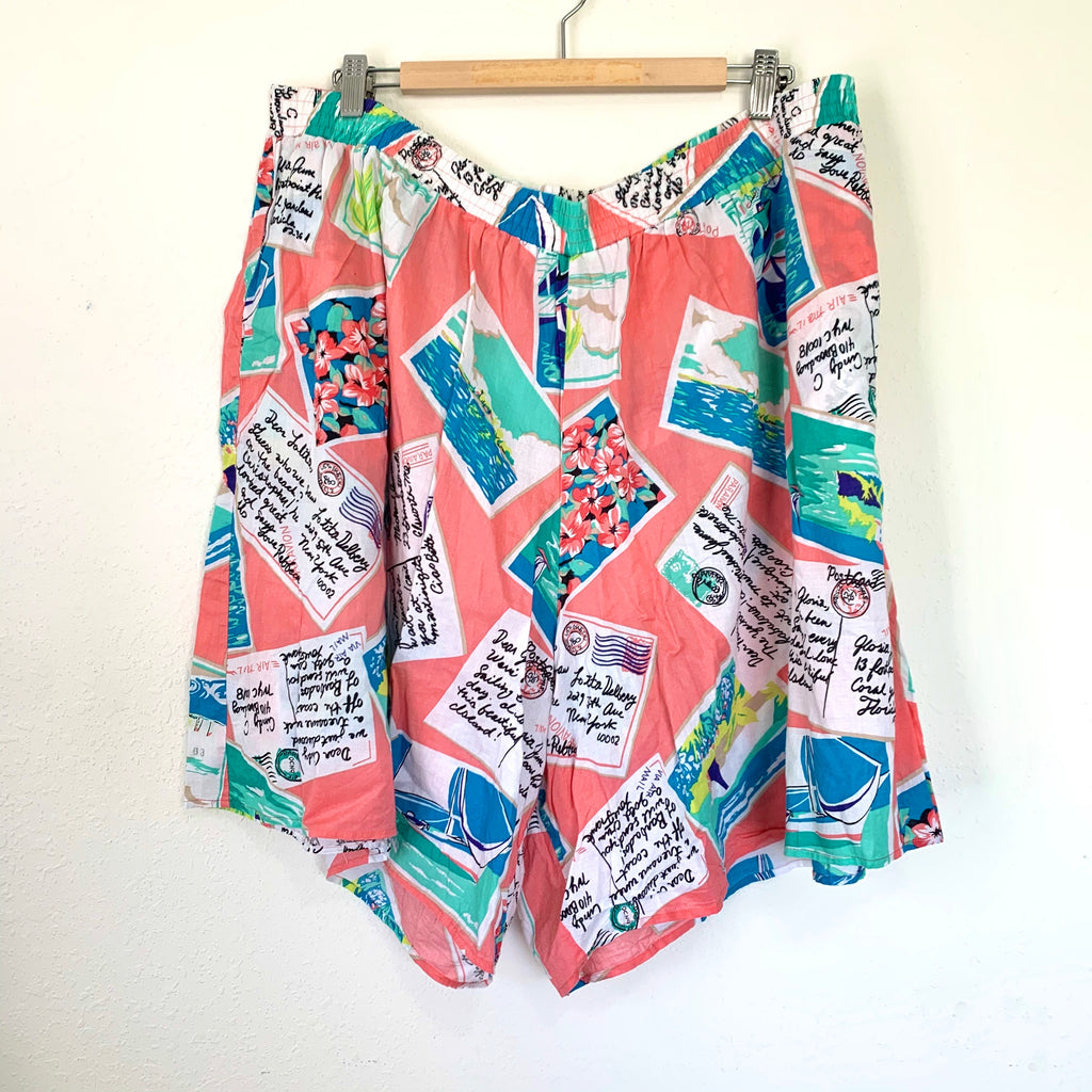 Vacation Print Vintage Shorts
