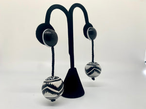 Hand-Painted Black and White Drop Earrings