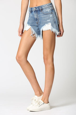 Vanessa Heavy Fray High Rise Mom Short