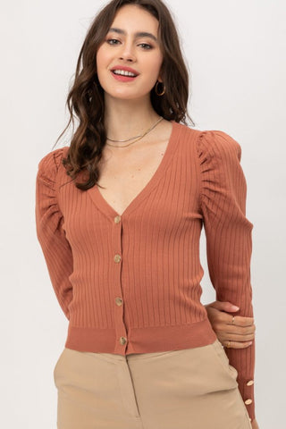 Scout Puff Sleeve Ribbed Cardigan