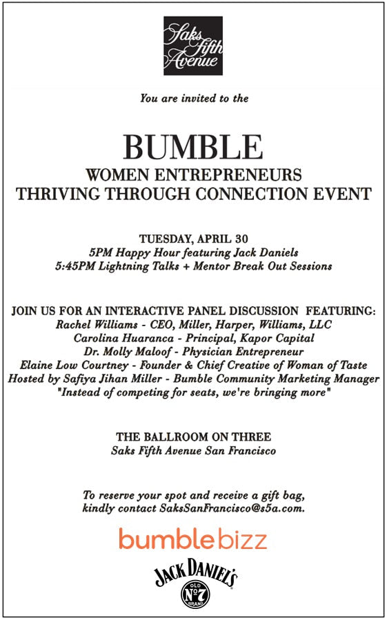 Women Entrepreneurs | Thriving Through Connection Event - 4.30.19 #bumblesf #bumblebizz