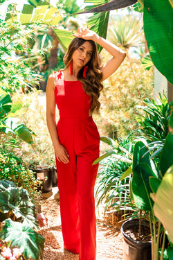 Red 'Lady In Red' Jumpsuit - Safiya Jihan