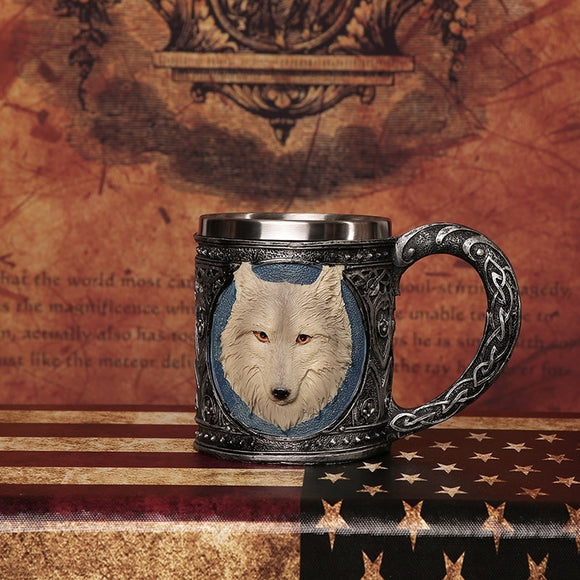 3D Wolf Head Drinking Steel Mug - gkstocks
