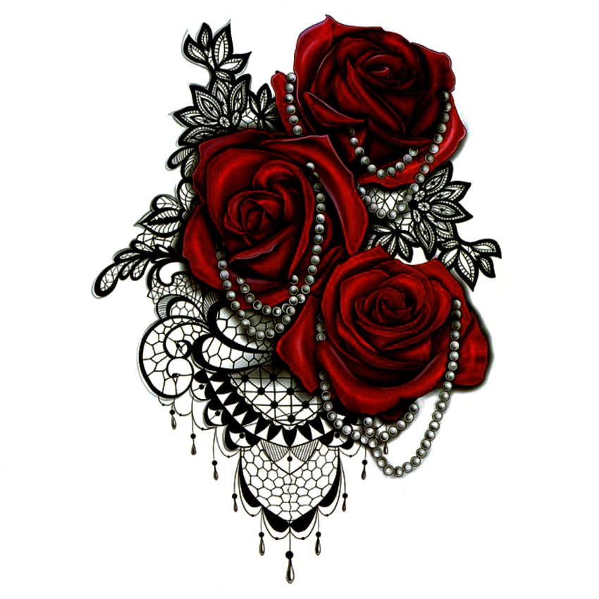 Red Rose Temporary Tattoos