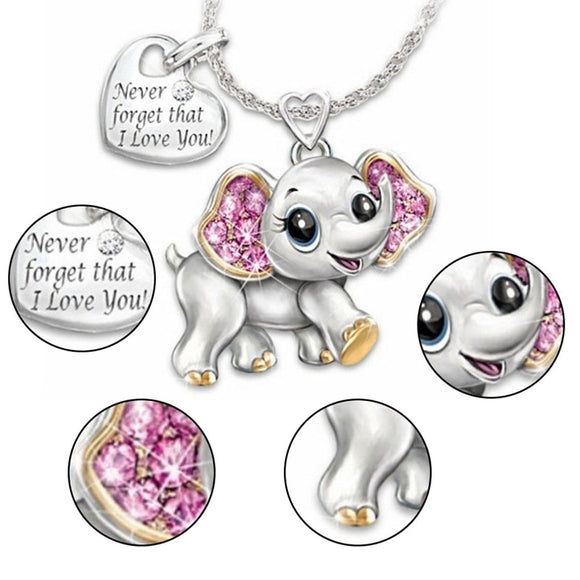 Never Forget That I Love You Elephant Necklace - gkstocks