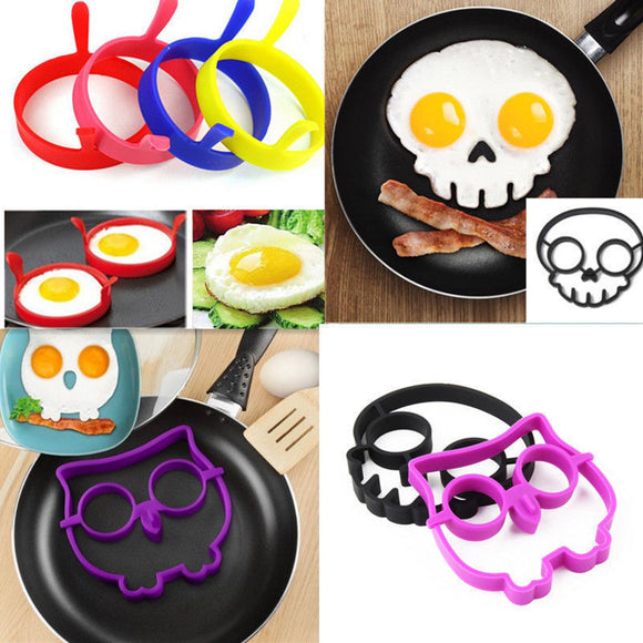 Hot Breakfast Silicone Rabbit Owl Skull Smile Fried Egg Omelette Mold Pancake Ring Shaper Cooking Tools Kitchen Gadgets Kid Gift - gkstocks