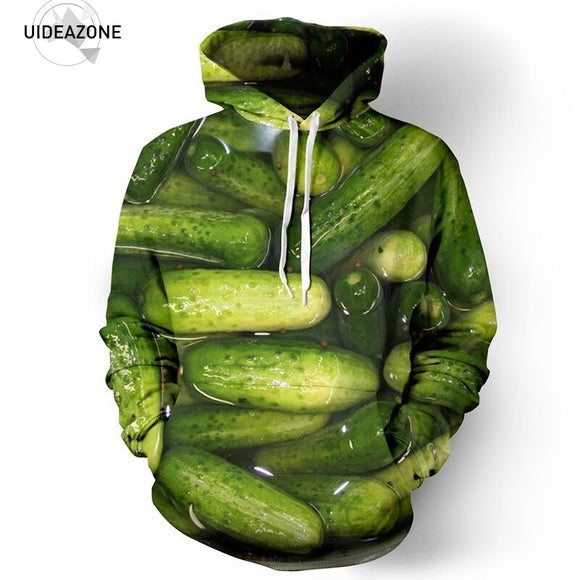 Cucumber Pattern Kangaroo Pocket Hoodie - gkstocks