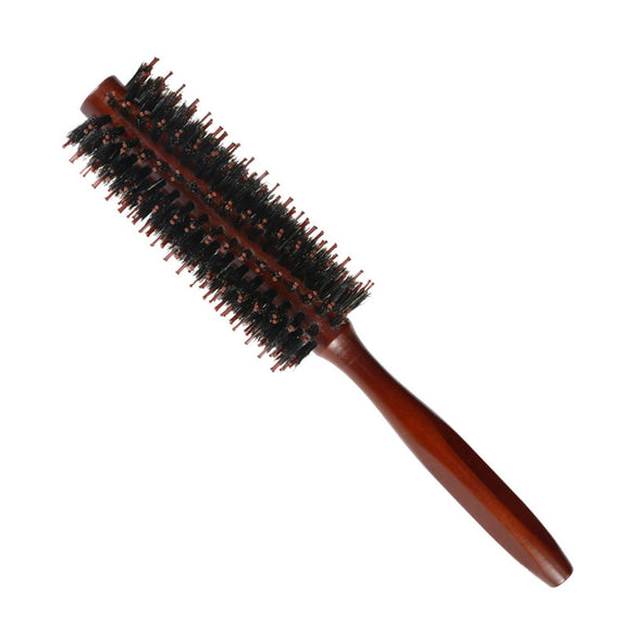 Bristles Hair Brush Comb Round Comb Twill with Wood Handle for Hair Drying Styling Curling - gkstocks