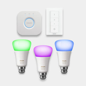 Philips Hue Colour Changing Bulbs Starter Kit B22 Bayonet Fitting Bulbs