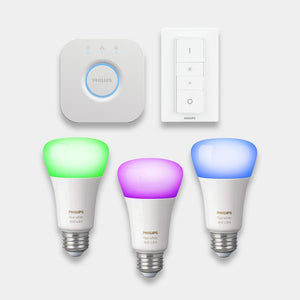 Philips Hue Colour Changing Bulbs Starter Kit E27 Screw Fitting Bulbs