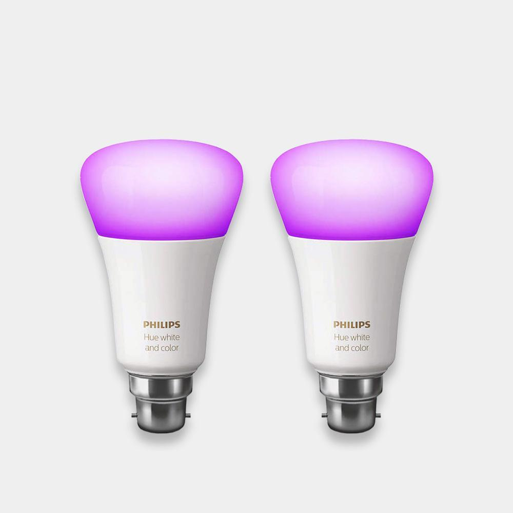 philips hue colour changing bulbs B22 twin pack