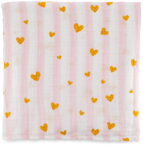 Swaddle Blanket - Pink Hearts