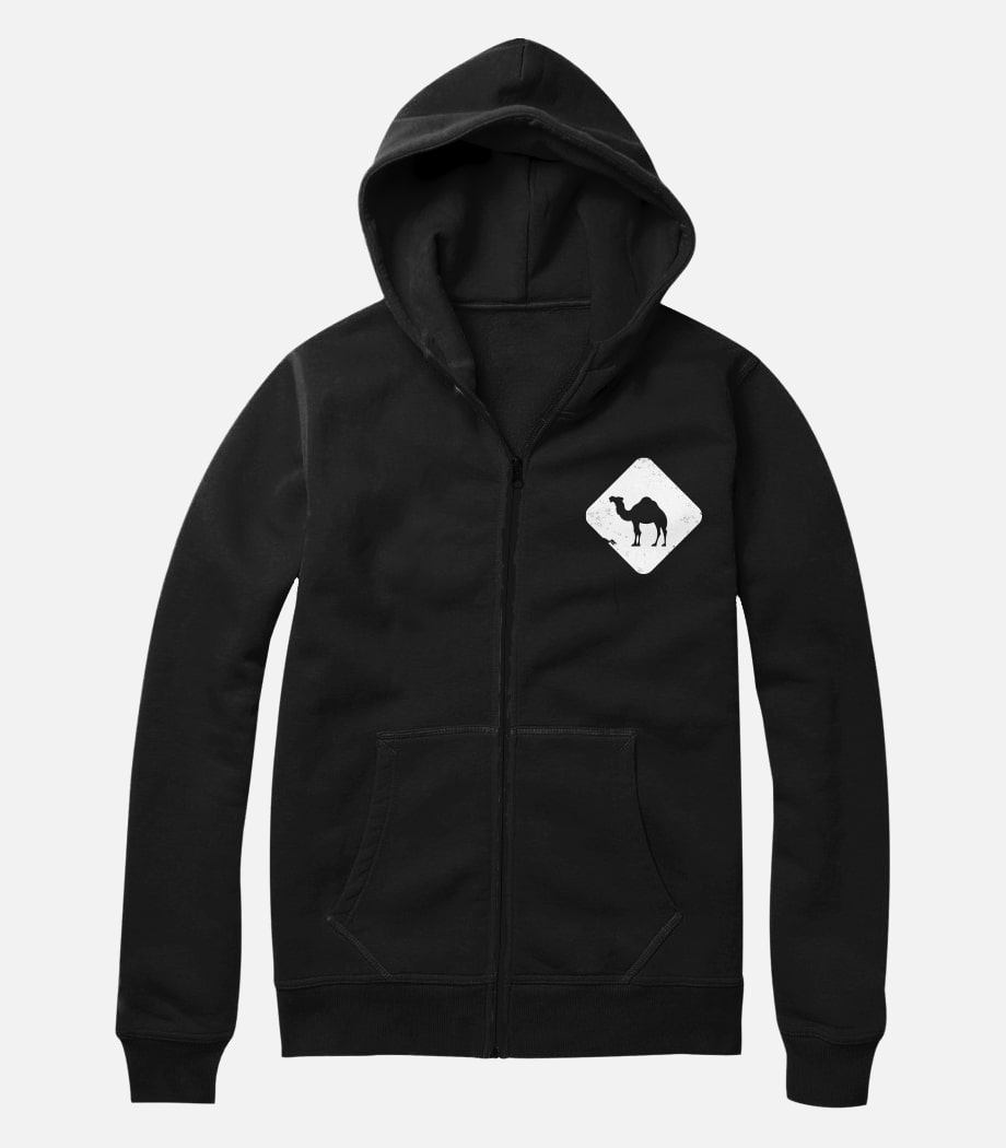 Jobedu Camel Crossing Puff Printed - Unisex Light Zipup Hoodie - Black