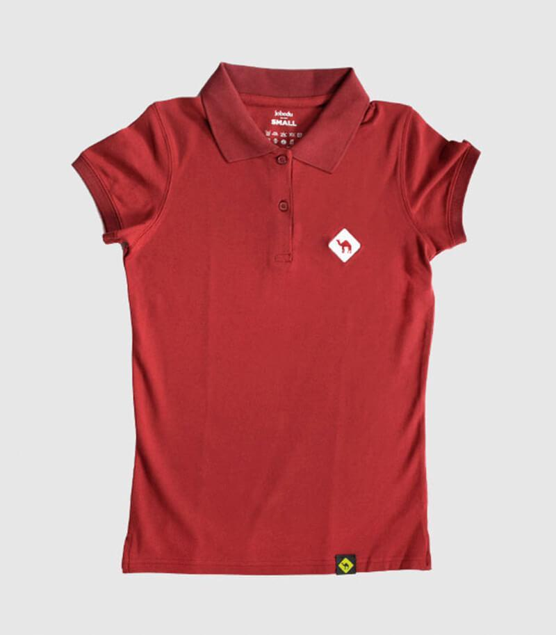 Jobedu Camel Crossing Women's Polo Shirt Red