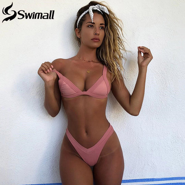 Bikini 2019 Solid Swimsuit Women Swimwear Push Up Bikini Set Patchwork Biquini Brazilian Summer Beach Bathing Suit Swim Wear