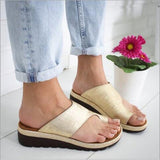 WDHKUN 1 Pair Women Comfy Platform Sandal Shoes Feet Correct Thickened Street PU Leather Dating Shopping Flat Sole Women Sandal