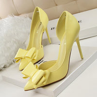 7 Colors Korean Sweet Bowtie Pointed Toe Women Pumps New Fashion Patent Leather Sexy Side Cut-Outs Shallow High Heels Shoes