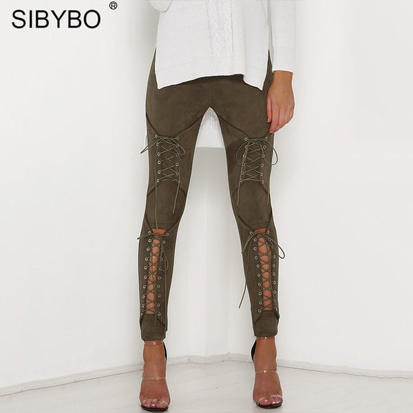 Sibybo Suede Bodycon Bandage Pants Women 2018 Autumn Winter Legging Sexy Slim Club Party Trousers Women Ladies Pencil Pants