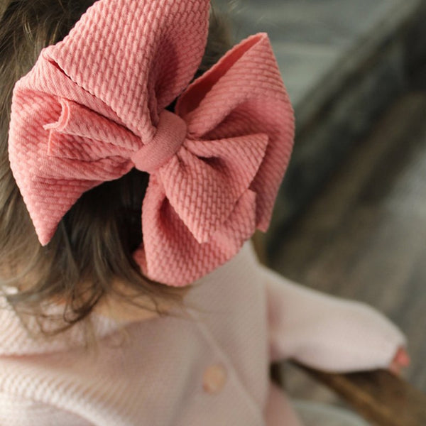 one size fits all Messy bow baby headband nylon girls headwraps stretchy bow with nylon kids hair bow turban children messy bow